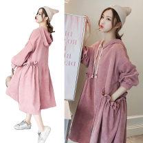 Dress Other / other Pink + black pants, pink + dark grey pants, pink + light grey pants M,L,XL,XXL Korean version Long sleeves Medium length autumn Solid color corduroy