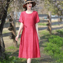 Dress Summer 2021 Orange bean green watermelon red M L XL XXL XXXL Mid length dress singleton  Short sleeve commute Crew neck High waist Solid color Socket A-line skirt routine Others 25-29 years old Type A Wan Shangge Retro Bandage WSGMLJL86021 More than 95% Crepe de Chine polyester fiber