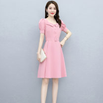 Dress Summer 2021 Pink red light blue M L XL XXL XXXL Mid length dress singleton  Short sleeve commute One word collar middle-waisted Solid color Socket A-line skirt bishop sleeve Others 25-29 years old Type A Wan Shangge Simplicity More than 95% Chiffon polyester fiber Other polyester 95% 5%