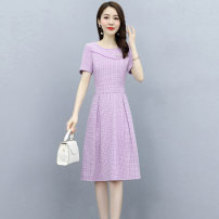 Dress Summer 2021 Purple light blue fruit green M L XL XXL XXXL Mid length dress singleton  Short sleeve commute Crew neck middle-waisted lattice Socket A-line skirt routine Others 25-29 years old Type A Wan Shangge lady Patchwork zipper print WSGYBE2137 More than 95% Silk and satin polyester fiber