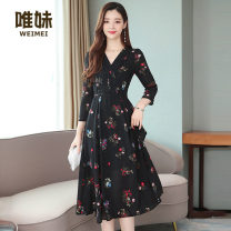 Dress Autumn of 2019 black M L XL 2XL Miniskirt singleton  Nine point sleeve commute V-neck High waist Broken flowers Socket Big swing routine Others 25-29 years old Type A Wei Mei Korean version Lace up printing B995930 More than 95% other Other 100% Pure e-commerce (online only)