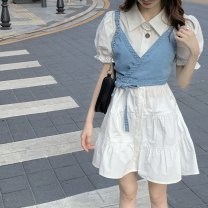 Women's large Summer 2020 Dress Two piece set commute Self cultivation thin Cardigan Short sleeve Korean version Polo collar Medium length Three dimensional cutting puff sleeve Dai Yi Department 18-24 years old Middle-skirt Other 100.00% Pure e-commerce (online only)