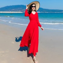 Dress Spring 2021 gules S M L XL XXL XXXL longuette singleton  Long sleeves commute V-neck High waist Solid color Socket Big swing routine 30-34 years old Song of the blue zipper Wg-062 red chiffon dress More than 95% Chiffon polyester fiber Polyester 100%