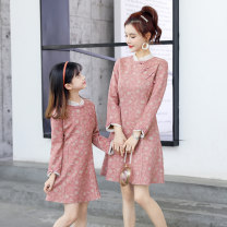 Parent child fashion Blue, pink Women's dress female Other / other Baby size 7 (90-115cm), baby size 9 (115-125cm), baby size 11 (125-135cm), baby size 13 (135-145cm), mother m (90-105kg), mother l (106-115kg), mother XL (116-130kg) spring and autumn ethnic style routine Broken flowers skirt L,M,XL