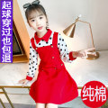 Dress Pink violet red female THINK LITTLE 110cm 120cm 130cm 140cm 150cm 160cm Cotton 95% other 5% spring and autumn Korean version Long sleeves Dot cotton A-line skirt Class B Spring 2021 Chinese Mainland Zhejiang Province Huzhou City