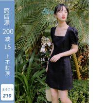Dress Summer 2020 black S,M,L Short skirt singleton  Short sleeve commute square neck High waist Solid color zipper A-line skirt puff sleeve Type A Retro 51% (inclusive) - 70% (inclusive) hemp
