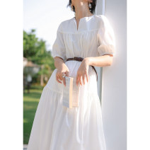 Dress Spring 2021 White, white (second batch), white (short sleeve), white (short sleeve) (scheduled for 15 days) XS,S,M,L Mid length dress singleton  Short sleeve commute other High waist Solid color other A-line skirt routine 25-29 years old Type A Retro 0103 white cake skirt 30% and below other