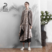 skirt Spring 2020 S M L Apricot powder Mid length dress commute Natural waist A-line skirt 30-34 years old 71% (inclusive) - 80% (inclusive) plain people hemp literature Same model in shopping mall (sold online and offline)