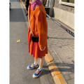 Dress Summer 2021 Orange, orange (12 working days delivery) XS,S,M,L Mid length dress singleton  Long sleeves commute Doll Collar Solid color Single breasted Pleated skirt routine 18-24 years old Type H Other / other Korean version More than 95% hemp