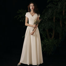 Dress / evening wear Weddings, adulthood parties, company annual meetings, daily appointments XS S M L XL XXL Myx191203 white long myx191203 white medium long grace longuette middle-waisted Autumn 2020 Fall to the ground Deep collar V zipper 18-25 years old MYX200610 Short sleeve Solid color Mayashi
