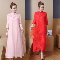 Women's large Summer of 2018 Red green pink Large L [100-125 kg] Large XL [125-150 kg] large 2XL [150-170 kg] large 3XL [170-200 kg] Dress singleton  commute easy thin Socket three quarter sleeve other literature Medium length Cotton and hemp Three dimensional cutting Other / other 25-29 years old