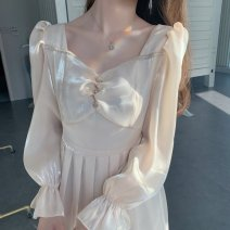 Dress Spring 2021 Champagne - long S,M,L,XL,2XL longuette singleton  Long sleeves commute square neck High waist Solid color Socket A-line skirt puff sleeve Others 18-24 years old Type A literature Splicing More than 95% other other