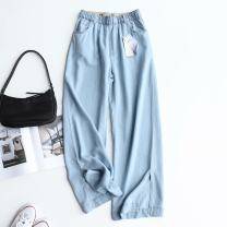 Jeans Summer 2021 Light blue, dark blue, smoke gray S,M,L,XL trousers High waist Straight pants Thin money 25-29 years old Other / other 31% (inclusive) - 50% (inclusive)