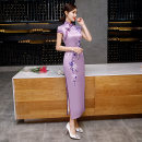 cheongsam Winter of 2018 S M L XL XXL 3XL 4XL Short sleeve long cheongsam grace High slit daily Oblique lapel Decor 18-25 years old Piping Zthm2035 red Rare pictures other Other 100% Pure e-commerce (online only)