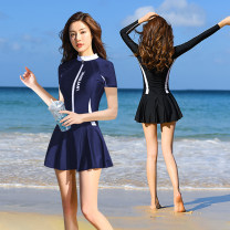 one piece  Great love M (recommended 80-95 kg) l (recommended 95-110 kg) XL (recommended 110-125 kg) 2XL (recommended 125-140 kg) XXXL (recommended 140-155 kg) Skirt one piece With chest pad without steel support Nylon spandex polyester H9600 Spring of 2019 no female Long sleeves Casual swimsuit