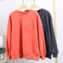 Sweater / sweater Winter 2020 Gray, orange S,M,L Long sleeves routine Socket singleton  Plush Crew neck easy commute Bat sleeve letter 25-29 years old 96% and above Xking / Exxon polyester fiber polyester fiber