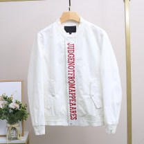 Jacket Xking / Exxon other white M,L,XL,2XL,3XL,4XL routine standard Other leisure spring Cotton 52% polyester 48% Long sleeves Wear out stand collar teenagers routine Zipper placket 2021 Loose cuff other polyester fiber More than 95%