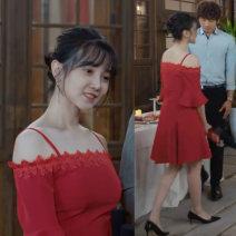 Dress Summer 2021 Red dress S,M,L,XL Short skirt singleton  Short sleeve Sweet One word collar zipper routine