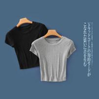 T-shirt White b-9-32-2, black b-9-32-2, gray b-9-32-2, red b-9-32-2, deep army green b-9-32-2, army green b-9-32-2, purple red b-9-32-2, caramel b-9-32-2, green b-9-32-2, pink b-9-32-2 S,M,L Summer 2020 Short sleeve Crew neck Self cultivation routine commute other 31% (inclusive) - 50% (inclusive)