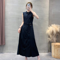 Dress Summer 2020 Black b-1-22-1, black (no belt) b-1-22-1 36,38,40,42,44,46,48,50,52,54 singleton  Sleeveless other Solid color other Others Lady Boya Button