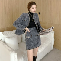 Fashion suit Autumn 2020 S,M,L Grey coat, grey skirt, black coat, black skirt 18-25 years old Other / other L1018 71% (inclusive) - 80% (inclusive) polyester fiber