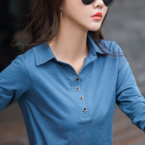 T-shirt Blue black purple S M L XL 2XL XXXL Autumn 2020 Long sleeves Polo collar Straight cylinder Regular routine commute cotton 86% (inclusive) -95% (inclusive) Korean version Solid color plot Button Cotton 95.00% polyurethane elastic fiber (spandex) 5.00% Pure e-commerce (online only)