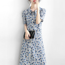 Dress Summer 2021 Elegant blue S,M,L,XL Mid length dress singleton  Short sleeve commute other High waist Solid color A-line skirt routine Others Type A Other / other 91% (inclusive) - 95% (inclusive) Chiffon other
