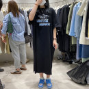 Women's large Korean version routine other Summer 2021 commute singleton  longuette Dress M236 Short sleeve letter moderate Condom easy Crew neck 18-24 years old Zulucat / Zulu cat cotton printing and dyeing Polyester 65% Cotton 30% polyurethane elastic fiber (spandex) 5% M L XL XXL Black and white