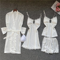 Pajamas / housewear set female Esmore M,L,XL White, ginger, light green, peacock blue Polyester (polyester) Long sleeves sexy Thin money V-neck Solid color shorts silk lace 5055 four piece white lace set Short skirt
