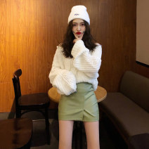 Dress Winter of 2019 S M Short skirt Two piece set Long sleeves commute One word collar High waist Solid color Socket A-line skirt routine Others 25-29 years old Ruo Manqi Korean version zipper More than 95% knitting polyester fiber Other polyester 95% 5% Pure e-commerce (online only)