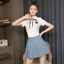 Dress Spring 2021 White dress + grey dress white dress + black dress S M L XL 2XL 3XL Short skirt Two piece set Short sleeve commute other High waist Solid color Single breasted Pleated skirt routine Others 18-24 years old Type H Ruo Manqi Korean version Bow button fold TY2411# More than 95% brocade