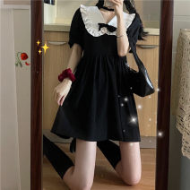 Dress Summer 2021 black S M Short skirt singleton  Short sleeve commute Doll Collar High waist Solid color Socket A-line skirt routine Others 18-24 years old Type A Uniday Korean version bow 1521# 51% (inclusive) - 70% (inclusive) polyester fiber Polyester 65% other 35% Pure e-commerce (online only)