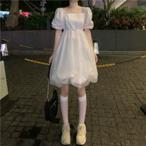 Dress Summer 2021 White black S M L Short skirt singleton  Short sleeve commute square neck High waist Solid color Socket A-line skirt routine Others 18-24 years old Type A Uniday Korean version 638# 81% (inclusive) - 90% (inclusive) polyester fiber Polyester 89% other 11%