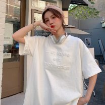 T-shirt M L XL Spring 2021 Short sleeve Crew neck easy Medium length routine commute cotton 30% and below 18-24 years old Korean version youth letter Uniday printing Cotton 30% other 70% Pure e-commerce (online only)