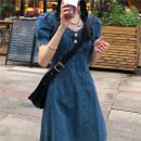 Dress Summer 2021 Denim dress S M L Short skirt singleton  Short sleeve commute V-neck High waist other Socket A-line skirt routine Others 18-24 years old Type A Uniday Korean version #33282 51% (inclusive) - 70% (inclusive) other polyester fiber Polyester 64% others 36% Pure e-commerce (online only)