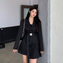 Dress Spring 2021 Long and short Average size Short skirt singleton  Long sleeves commute tailored collar High waist Solid color Single breasted Irregular skirt routine Others 18-24 years old Type A Uniday Korean version 51% (inclusive) - 70% (inclusive) polyester fiber Polyester 65% other 35%