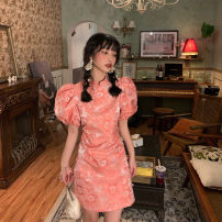Dress Summer 2021 Picture color S M L Short skirt singleton  Short sleeve commute stand collar High waist other Socket A-line skirt puff sleeve Others 18-24 years old Type A Uniday Korean version 71% (inclusive) - 80% (inclusive) polyester fiber Polyester 74% other 26% Pure e-commerce (online only)