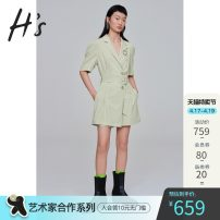 Jumpsuit / pants 96% and above shorts polyester fiber middle-waisted commute S/155 M/160 L/165 Thin money Summer 2021 Straight cylinder H'S belt Same model in shopping mall (sold online and offline)