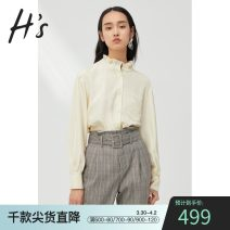 shirt Vanilla XS/150 S/155 M/160 L/165 XL/170 XXL/175 Spring 2020 polyester fiber 96% and above Long sleeves commute Regular Lotus leaf collar Single row multi button routine Solid color 25-29 years old H'S Simplicity Polyester 100% Same model in shopping mall (sold online and offline)