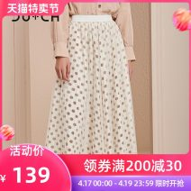 skirt Autumn of 2019 Average size Wave point longuette Sweet Natural waist other Dot 91% (inclusive) - 95% (inclusive) CU+CH polyester fiber Polyester fiber 93.2% polyurethane elastic fiber (spandex) 6.8% Same model in shopping mall (sold online and offline)