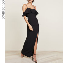 Dress / evening wear Weddings, adulthood parties, company annual meetings, daily appointments S M L black fashion longuette High waist Summer of 2018 Fall to the ground Sling type zipper 18-25 years old Goudinrqc / classic youth Polyester 100% Pure e-commerce (online only)