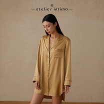 Nightdress Atelier intimo / cyan S M L Simplicity Long sleeves Living clothes Middle-skirt spring Solid color square neck One piece Autumn 2020 Same model in shopping mall (sold online and offline)