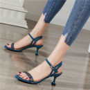 Sandals 34 35 36 37 38 39 Black 5cm Navy 5cm black 8cm Navy 8cm Suede Love of Ni Xuan Barefoot Fine heel High heel (5-8cm) Summer 2020 Flat buckle Europe and America Solid color Youth (18-40 years old) daily Back space Buckle drill Low Gang Hollow NxL us 751-13 Fashion sandals Frosting