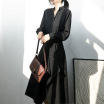 Dress Spring 2020 black S,M,L,XL singleton  Long sleeves commute V-neck High waist Solid color A button Irregular skirt Bat sleeve Type A Bowknot, lace, asymmetry, bandage 20C2001