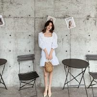 Dress Spring 2021 white Xs, s, m, l, no reason for return and exchange in seven days Short skirt singleton  elbow sleeve Sweet square neck Elastic waist Solid color zipper Pleated skirt routine Others 25-29 years old Type H Xueyuan style 51% (inclusive) - 70% (inclusive) brocade cotton princess