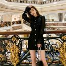 Dress Spring 2021 black Xs, s, m, l, no reason for return and exchange in seven days Short skirt singleton  Long sleeves commute Polo collar High waist Dot zipper A-line skirt bishop sleeve Others 25-29 years old Type H Xueyuan style Retro MISS 51% (inclusive) - 70% (inclusive) other polyester fiber
