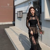 Dress Spring 2021 black Xs, s, m, l, no reason for return and exchange in seven days longuette singleton  Long sleeves commute Polo collar High waist Solid color zipper Big swing routine Breast wrapping 25-29 years old Type A Xueyuan style Britain 51% (inclusive) - 70% (inclusive) Lace