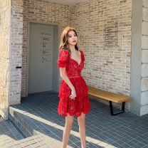 Dress Spring 2021 Red, white Xs, s, m, l, no reason for return and exchange in seven days Short skirt singleton  Short sleeve street other High waist Solid color zipper Cake skirt puff sleeve Others 25-29 years old Type A Xueyuan style rs20-113s+rs20-113w 51% (inclusive) - 70% (inclusive) Lace