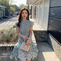 Dress Spring 2021 blue Short skirt singleton  Sleeveless street Crew neck High waist Solid color Socket Irregular skirt Flying sleeve Others 25-29 years old Type A Xueyuan style 51% (inclusive) - 70% (inclusive) Lace polyester fiber Europe and America