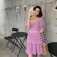 Dress Spring 2021 lilac colour Xs, s, m, l, no reason for return and exchange in seven days Short skirt singleton  Short sleeve commute square neck High waist Solid color Socket Cake skirt puff sleeve Others 25-29 years old Type H Xueyuan style Britain ss20-077 71% (inclusive) - 80% (inclusive) Lace
